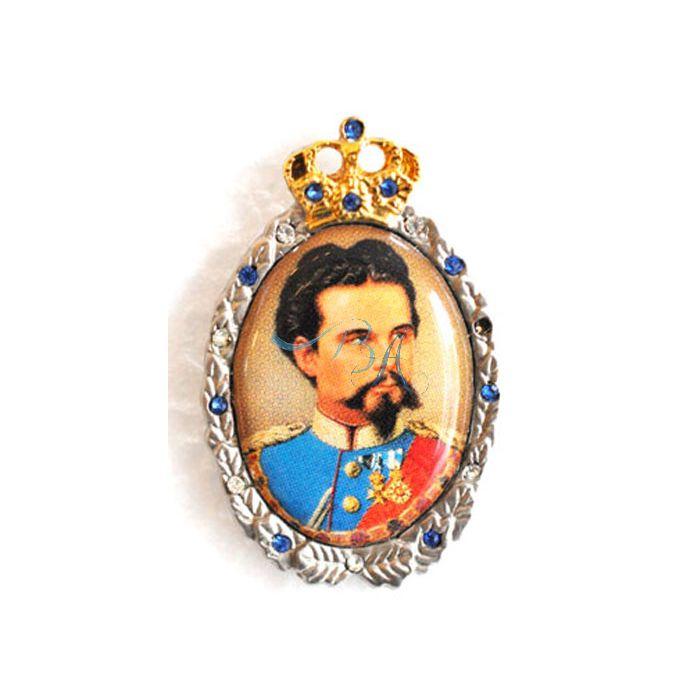 Pin Anstecker Persoenlichkeiten Ludwig II Koenig von Bayern mit Strasssteinen