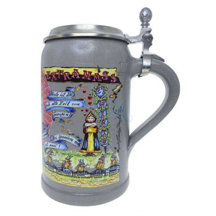 2021 - Wiesn Wirte Krug mit Zinndeckel, Brauereikrug, Bierkrug, Steinkrug, Oktoberfestkrug