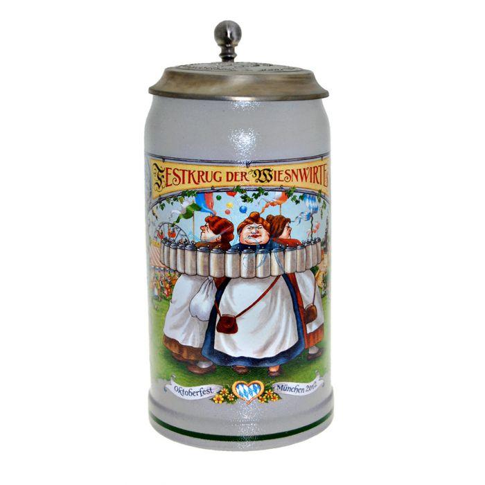 2012 - Wiesn Wirte Krug mit Zinndeckel, Brauereikrug, Bierkrug, Steinkrug, Oktoberfestkrug