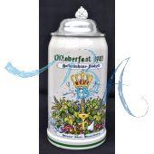 1983 Hofbräuhaus Oktoberfest München Festzelt Krug mit Zinndeckel