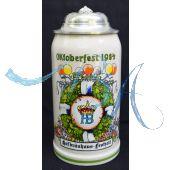 1984 Hofbräuhaus Oktoberfest München Festzelt Krug mit Zinndeckel