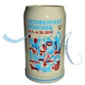 2019 - Offizieller Oktoberfestkrug Plakatmotiv, Jahrgangskrug, Wiesnkrug
