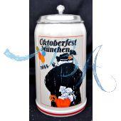 1984 - Offizieller Plakatmotiv Oktoberfestkrug mit Zinndeckel, Jahrgangskrug