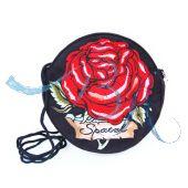 Dirndltasche, Trachten-Tasche, Schwarz Tasche mit roter Rose