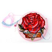 Dirndl Tasche, Trachten-Tasche, rosa mit roter Rose
