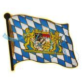 Pin Anstecker Flagge; Freistaat Bayern mit Wappen