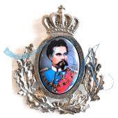 Pin Anstecker Persönlichkeiten König Ludwig II von Bayern mit Altsilber