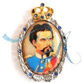 Pin Anstecker Persönlichkeiten Ludwig II König von Bayern mit Strasssteinen