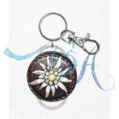 Schlüsselanhänger Trachten Style. aus Leder mit Alpen Edelweiß