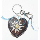 Schlüsselanhänger Trachten Style aus Leder mit Alpen Edelweiß Blume