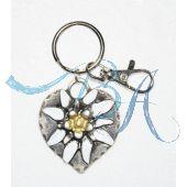 Schlüsselanhänger Trachten Style mit Metall-Herz darauf ein Alpen Edelweiß
