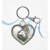 Schlüsselanhänger Trachten Style mit Metall-Herz darauf ein Hirsch