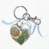 Schlüsselanhänger Trachten Style mit Metall-Herz, Model Nr.2