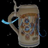 2007 - Wiesn Wirte Krug mit Zinndeckel, Brauereikrug, Bierkrug, Steinkrug, Oktoberfestkrug