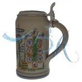 2005 - Wiesn Wirte Krug mit Zinndeckel, Brauereikrug, Bierkrug, Steinkrug, Oktoberfestkrug