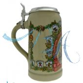 2003 - Wiesn Wirte Krug mit Zinndeckel, Brauereikrug, Bierkrug, Steinkrug, Oktoberfestkrug