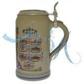 2006 - Wiesn Wirte Krug mit Zinndeckel, Brauereikrug, Bierkrug, Steinkrug, Oktoberfestkrug