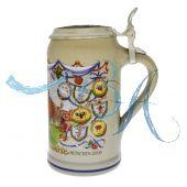 2009 - Wiesn Wirte Krug mit Zinndeckel, Brauereikrug, Bierkrug, Steinkrug, Oktoberfestkrug
