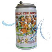 2016 - Wiesn Wirte Krug mit Zinndeckel, Brauereikrug, Bierkrug, Steinkrug, Oktoberfestkrug